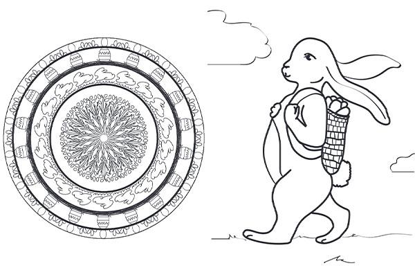 Oster-Ausmalbilder und Mandala für Kinder